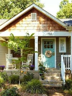 Front porch idea..like the blue door & Shakes.