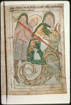 Navarre Picture Bible Pamplona, Spain, 1197AD  Although the stories portrayed in the illustrations are ancient, the figures wear 12th century Navarrese costume. Saint Michael slaying the dragon