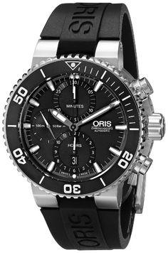 Mens top watch Oris Men's Aquis Analog Display Swiss Automatic Black Watch Stylish Watches, Luxury Watches For Men, Cool Watches, Black Watches, Wrist Watches, Men's Watches, Oris Aquis, Mens Sport Watches, Beautiful Watches