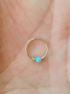Opal cartilage ring tragus earring. 10 mm. by wirewirewire on Etsy