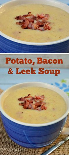 Tasty, comforting, filling and BACON in this Potato and Leek Soup ! Tasty, comforting, filling and BACON in this Potato and Leek Soup ! Best Soup Recipes, Great Recipes, Favorite Recipes, Chili Recipes, Leek Recipes, Chowder Recipes, Family Recipes, Delicious Recipes, Leek And Bacon Soup