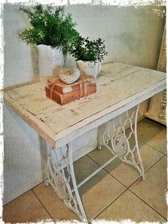Shabby Chic Singer Based Timber topped Table made by Vintage Lidy