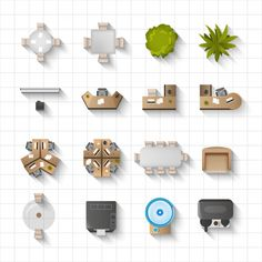 Find Office Interior Furniture Icons Top View stock images in HD and millions of other royalty-free stock photos, illustrations and vectors in the Shutterstock collection. Design Studio Office, Office Furniture Design, Furniture Layout, Interior Design Presentation, New Interior Design, Interior Designing, Interior Architecture Drawing, Floor Plan Layout, Floor Design