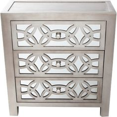 "River of Goods Glam Slam 3 Drawer Mirror Chest $251 Wayfair Overall: 28"" H x 26"" W x 12"" D"