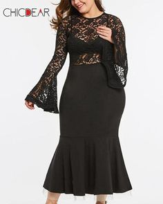 366fbfd62f8 Plus-Size Sexy Pure Color Elegant Long-Sleeved Lace Dress