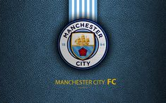 Download wallpapers Manchester City FC, FC, 4K, English football club, leather texture, Premier League, logo, emblem, Gorton, Manchester, England, UK, football