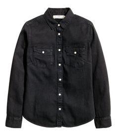 Denim overhemdblouse | Zwart | Dames | H&M NL