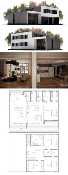 Modern Home Plan, Three bedrooms house plan, Architecture, zero energy home design, passive home design