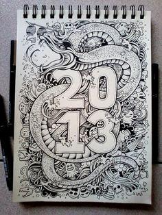 DOODLE ART: Year Of the Water Snake by kerbyrosanes.deviantart.com on @deviantART