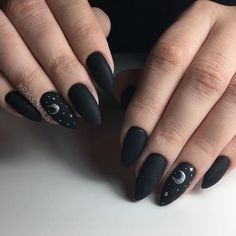Astonishing moon and stars nail art design in black and gray colors Nails 5 Simple Nail Art Designs You Can Do Yourself Dark Nail Designs, Simple Nail Art Designs, Easy Nail Art, Art Simple, Trendy Nail Art, Acrylic Nail Designs, Cute Acrylic Nails, Cute Nails, Pretty Nails