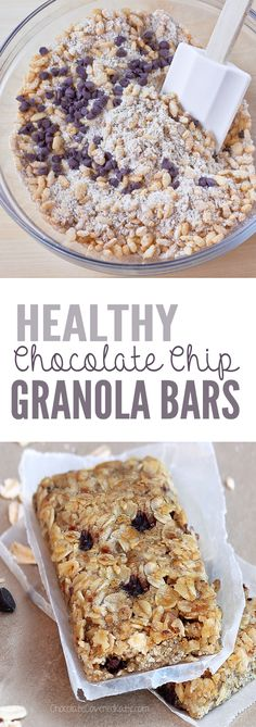 Easy-to-make, healthy granola bars - packed with rolled oats, crispy cereal, & mini chocolate chips! (desserts with oats granola bars) Healthy Granola Bars, Chewy Granola Bars, Healthy Bars, Healthy Sweets, Healthy Cereal Bars, Healthy Snacks, Breakfast Healthy, Chewy Chocolate Chip Granola Bars Recipe, Oat Granola Bar Recipe