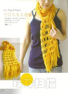 Patrones para Crochet: Patron Crochet Bufanda Rejilla