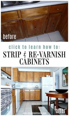 How to Re-Varnish Cabinets   Dans le Lakehouse. Read my tips for re varnishing wood and learn how to re varnish cabinets in the kitchen or bathroom. Click through to see this kitchen cabinet makeover and see how to update kitchen cabinets without painting! Wood kitchen cabinets makeover that keeps the wood look - update wood kitchen cabinets. Save this under wood kitchen ideas! Easy Kitchen Updates, Updated Kitchen, Update Kitchen Cabinets, Diy Cabinets, Home Decor Items, Diy Home Decor, Decor Crafts, Diy Wood Projects, Home Projects