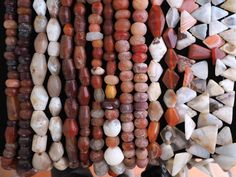 Different kind of ancient stones beads from Mali.