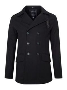 45fbc6089837c Armani Jeans Double breasted pea coat Navy - House of Fraser