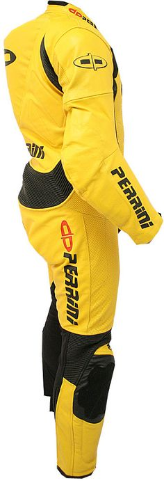 Perrini's Fusion Motorcycle all leather racing suit. Designed to protect the racers during the race while they are speeding over 150 mph. Suit is built to last for a long time and made with heavy duty