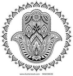 Find Vector Indian Hamsa Hand Symbol Black stock images in HD and millions of other royalty-free stock photos, illustrations and vectors in the Shutterstock collection. Mandala Art, Mandala Drawing, Mandala Painting, Hamsa Painting, Boho Illustration, Steam Punk, Meditation Symbols, Hand Der Fatima, Paisley Background