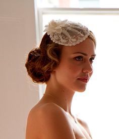 Weddings,Lace Bridal Hat, Pretty Bridal Cap  made from 1920s Antique lace in light ivory.Romantic,Vintage Headpiece. on Etsy, $1,040.00 HKD