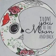 Sugar skull moon tattoo
