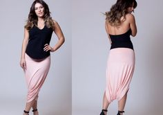 Pink Casual Short Harem Skirt Pants, Classic Design, Womens clothes, Maternity pants, chic pants