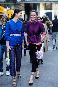#CarolineIssa and #GaranceDore both looking colorful and adorable. Love Garance's look, especially. Via The Sartorialist.