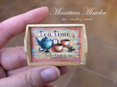 Miniature Dollhouse Wooden Tray Tea Time Theme by Minicler on Etsy, €6.00