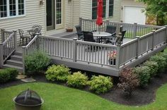 Deck landscaping, You don't have to go fancy to have a comfortable deck or patio, a gas grill perhaps, a good table (size matters), comfortable sturdy chairs, a plant or two and maybe if you fancy a fountain. wonderful and easy to maintain. SB