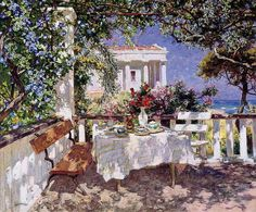 I'm In Heaven ~ Terrace, Sea, Tea (Peter Stolyarenko) Realistic Paintings, Cool Paintings, Dappled Light, Impressionist Art, Russian Art, Art Portfolio, New Artists, Light Art, Aesthetic Art