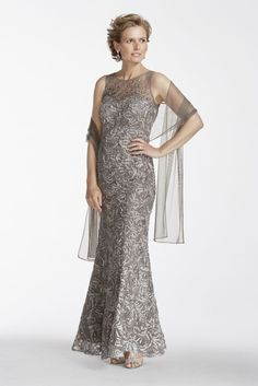 Sleeveless Illusion Neckline Soutache Mother of Bride/Groom Dress - Pewter, 16