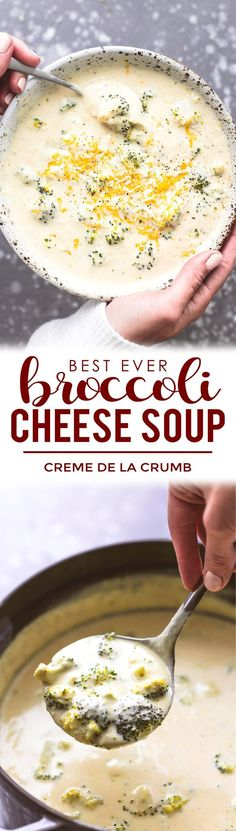 You're Only 30 Minutes Away From Eating The Best Ever Broccoli Cheese Soup And It All Starts With Some Fresh Broccoli, Sharp Cheddar Cheese, And A Handful Of Pantry Ingredients. This Is The Only Cheesy Broccoli Soup Recipe You'll Ever Need Cheesy Broccoli Soup, Broccoli Soup Recipes, Best Soup Recipes, Fresh Broccoli, Broccoli And Cheese, Chili Recipes, Fall Recipes, Crockpot Recipes, Vegetarian Recipes