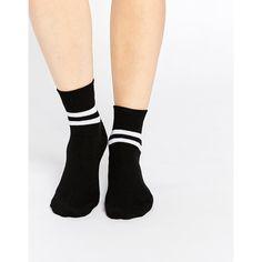 ASOS 2 Stripe Ankle Socks ($4.46) ❤ liked on Polyvore featuring intimates, hosiery, socks, black, ankle socks, black hosiery, tennis socks, black striped socks and striped socks