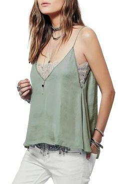 Trendy-Road-Style-Shop-Online-Woman-Fashion-Street-top-tanktop-satin-vneck-lace-mint