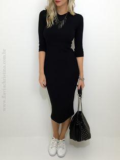 Vestido midi canelado - Flávia Christina