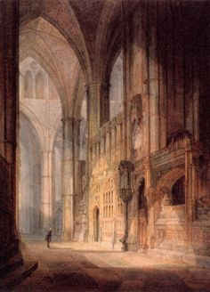 JOSEPH MALLORD WILLIAM TURNER / St. Erasmus in Bishop Islips Chapel, Westminster Abbey, watercolor on paper.