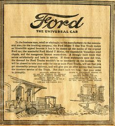 Vintage Ford Truck Ad 1921