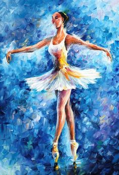 ballerina_new___leonid_afremov_by_leonidafremov-d38305z  Way too much spastisity in the background.  Skirt too abrupt, neckline too abrupt, right hand, broken,  Bust/waist ratio unreal.  streaks in legs, neck etc.  no softness anywhere.