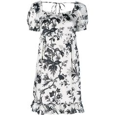 McQ Alexander McQueen floral print dress ($585) ❤ liked on Polyvore featuring dresses, white, floral print dress, white short sleeve dress, ruffle dress, square neck dress and short sleeve floral dress