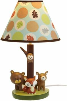 """Carter's Forest Friends Lamp Base and Shade Tan Choc 5 5 x 12"""" 