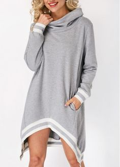 Long Sleeve Cowl Neck Asymmetric Hem Sweatshirt   Rosewe.com - USD $33.57