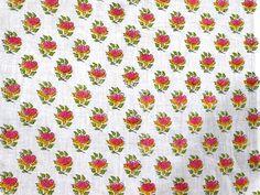 1 Yard Sanganer Cotton Natural Sewing Craft Hand Block Print Running Fabric V234 #NamasteyJaipur