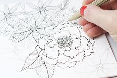 alisaburke: a peek inside my sketchbook- 1 bouquet 3 ways