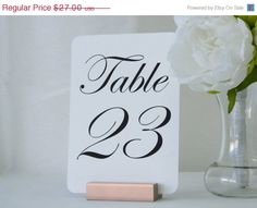 Rose Gold Wood Wedding Sign Holder/Table Number by Gallery360