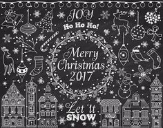 ITEM: Chalkboard Christmas Clipart - Vector Christmas Clipart, Xmas Clipart, White Christmas Clipart, Winter Clipart, Chalk Christmas Clip Art for Personal and Commercial U... #thecreativemill