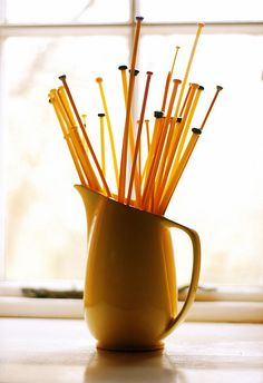 Yellow knitting needles