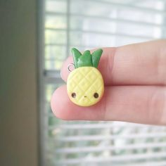 Kawaii Pineapple - Polymer Clay Charm, Polymer Clay Jewelry, Pendant, Jewelry, Miniature Food, Fruit, Kawaii Charm, Summer, Yellow, Cute Polymer Clay Kunst, Polymer Clay Miniatures, Fimo Clay, Polymer Clay Projects, Polymer Clay Charms, Polymer Clay Creations, Polymer Clay Jewelry, Clay Crafts, Clay Beads