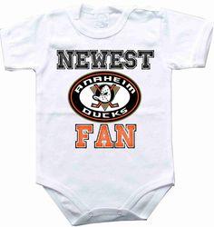 Baby bodysuit Newest fan Anaheim ducks hockey One Piece Bodysuit Funny Baby Child girl Clothing Kids Shower boy baby CONDITION : BRAND NEW