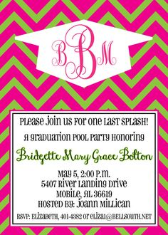 Graduation Party Invitation with Chevron and Monogrammed Cap