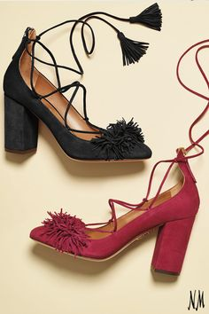 Indulge in a little fall fringe by Aquazzura. These lace-ups are great for paring with everything from dresses to denim.