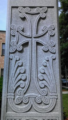 Close up of monument at St. James Armenian Church, Watertown MA, USA.