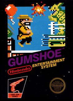 """The box art for """"Gumshoe,"""" a detective-themed light gun / shooting game released by Nintendo for the Nintendo Entertainment System in 1986"""